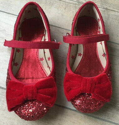 Gorgeous Girls Marks And Spencers Red Glitter Party Shoes With Bow Infant 12