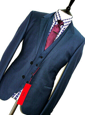 Bnwt Luxury Mens Hugo Boss Red Label Tonik Green Blue 3 Piece Suit 40R W34 X L32