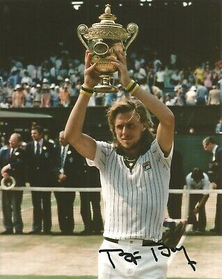 Hand Signed 8x10 photo BJORN BORG - WIMBLEDON TENNIS CHAMPION Federer + my COA