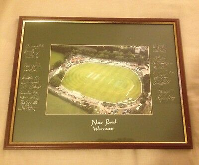 Hand Signed Worcestershire County Cricket Club 15x18 HICK ALI RHODES + my COA