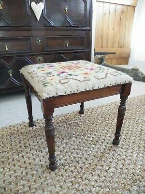 Fabulous Antique Country House Footstool Original Vibrant Hand Sewn Tapestry