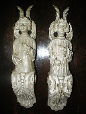 Superb Pair Of Large Antique Hand Carved Wood Gothic Renaissance Angel Corbles