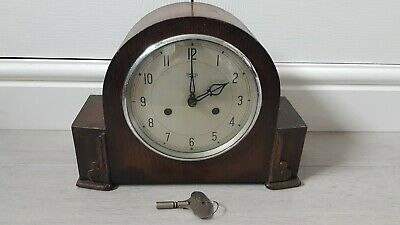 Vintage Smiths Enfield Striking Mantel Clock With Key - Working Condition