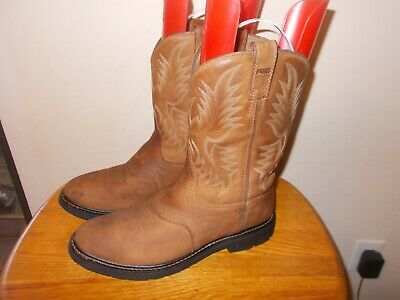Men's ARIAT ATS Sierra Saddle Brown Leather Western Cowboy Boots Size 12 EE