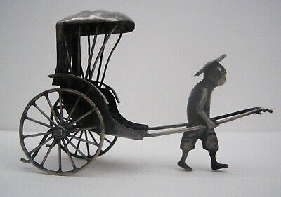 Antique Chinese Export Solid Silver Model Man With Rickshaw 85 & Character Mark