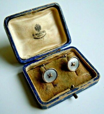 FABERGE Antique Imperial RUSSIAN Mother of Pearl Cufflinks, 56 Gold.