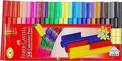 Faber-Castell Connector Clip Fibre Felt Tip Pens Bright Colours - Pack Wallet 25