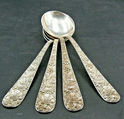 "4 VINTAGE repousse ROUND Soup Spoons sterling S. Kirk & Son 6""L"