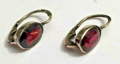FABERGE Antique Imperial RUSSIAN Gold Earrings with Garnet stones, 56 gold.