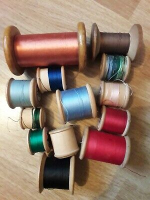 Lovely Collection Of Vintage Wooden Thread Spools/Bobbins