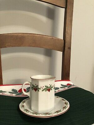 Cup & Saucer Set Hearts & Pines (Multisided) by PORSGRUND