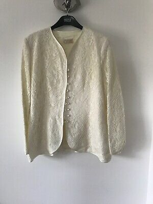 Vintage Ivory Lace Jacket With Button detail Size 16 Short Stories
