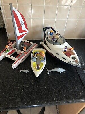 Playmobil Boat Bundle With Figures And Accessories Yacht Catamaran Speedboat