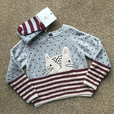 BNWT Girls Knitted Cat Jumper & Tights set age 4-5 years NEXT