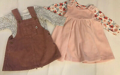Next Marks & Spencers Baby Girl Corduroy Velvet Dress Outfit Bundle 0-1 Month