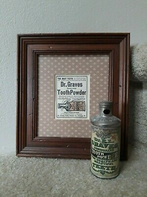 Antique DR. E L Graves TOOTH POWDER CAN tin dentistry & advertising AD Chicago