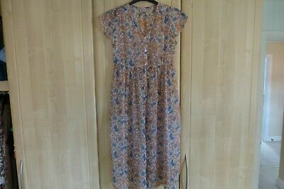 Next Girls Peach & Pastel Blue Floral Chemise Short Sleeved Cover 12 Yrs 152 Cm
