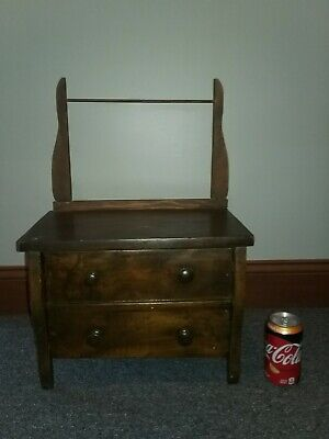 Antique American Salesman Sample Chest W/ Towel Rod- One Big Drawer - Neat!