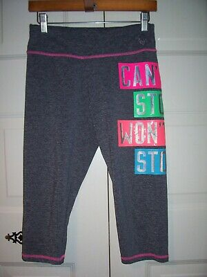 Justice girl's gray cropped leggings pink trim multi-color side graphic size 20