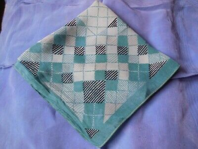 Fabulous Vintage Crepe Handkerchief Green Check - Looks Like A Crossword Puzzle