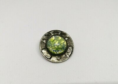 Antique Pewter Arts & Crafts Ruskin Style Opaline Brooch
