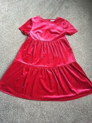Marks And Spencer Girls Red Velvet Sparkle Party Dress Age 10-11 Years