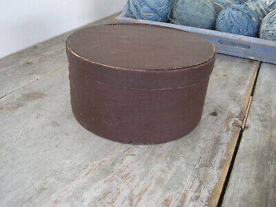 19th Century Primitive Old Red Paint Wood Pantry Box with Original Lid American