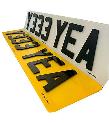 4D Number Plates Front & Rear 4D 3D Lazer Cut Raised Gloss Black 100% Road Legal