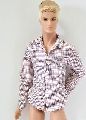 FASHION ROYALTY HOMME AWESOME WHITE FITTED SHIRT WITH BLACK BUTTONS MINT