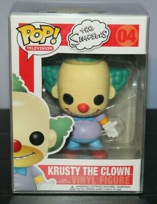 Funko Pop Krusty the Clown #04 With Protector The Simpsons, Retired Vaulted Rare