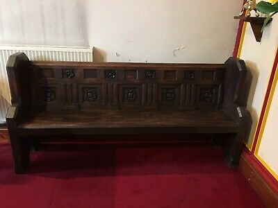 Antique Church Pew, Bench,19th C, carved oak back with roses, Pugin interest