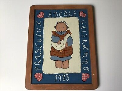 Vintage Primitive Style Goose Girl Doll Plaque Hand Painted Crafted Wood 1988