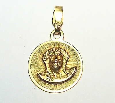 14K Solid Yellow Gold Diamond Cut Jesus Christ Face Pendant / Charm