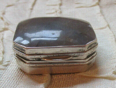 Antique 19th Century Box Sterling Agate and Mother of Pearl