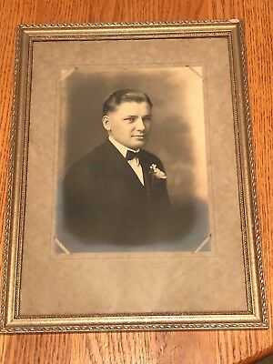 Vtg.  Professionally Framed Black And White Photo Of A Good Looking Young Man !