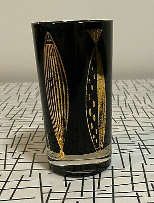 Vintage Fred Press Black And Gold Fish Mid Century Modern drinking art glass