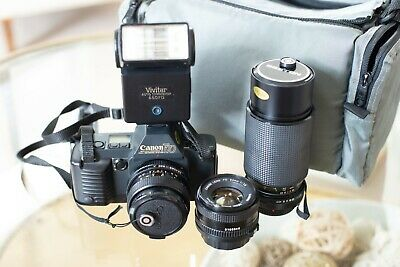 Canon T-70 35mm SLR Film Camera, Two lenses and a Flash