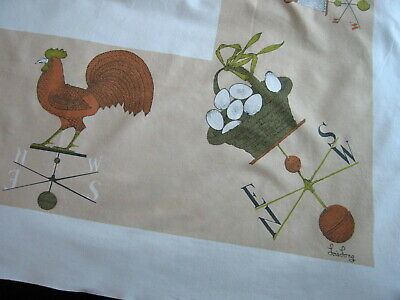 Vintage Lois Long Tablecloth 55 x 48 Weather Vanes Roosters Chickens Eggs