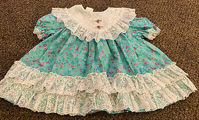 Vintage Girl Dress Blue Floral With White Lace Party Ruffles 18 Mo