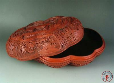 Large Old Chinese RED LACQUER Carved Jewelry Box Cosmetic Jar FIGURES LANDSCAPES