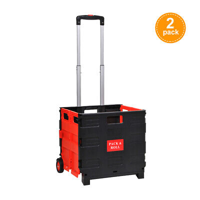 2 x Large Folding Trolley Rolling Shopping Cart Boot Storage Basket with Wheels