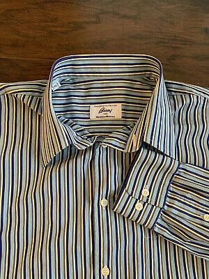 BRIONI for NEIMAN MARCUS MULTI. BLUE/YELLOW STRIPED SHIRT - made in ITALY SZ.XL