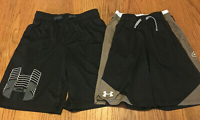 Youth Boy 2 Piece Lot L Large Loose Black Under Armour Heat Gear Athletic Shorts