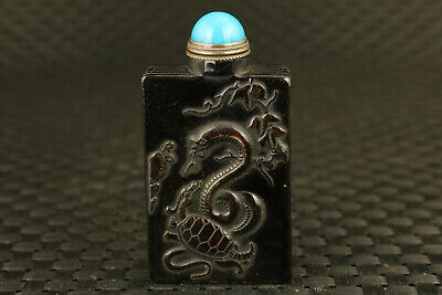 chinese old yak horn hand carved snake snuff bottle collectable + jade lid