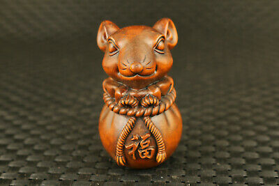 chinese old boxwood hand carved lovely mouse statue figure netsuke