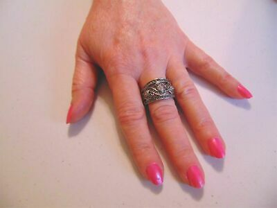 Department Store Size 9  Antiqued Silver Tone Simulated Diamond Ring N320
