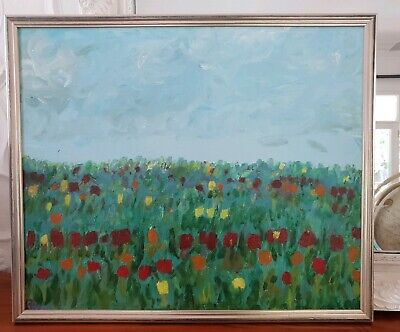 Vintage Original Large Oil Painting Floral Field of Flowers Silver Framed Tulips