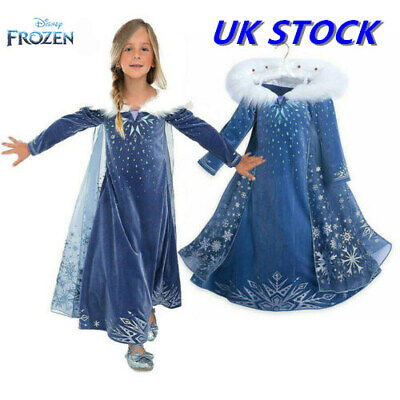 2019 Frozen 2 Party Outfit Girls Princess Elsa Fancy Dress Up Cosplay Costume