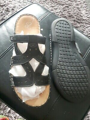 Ladies EVANS Black Extra Wide Comfort sandals 9 EEE Velcro opening
