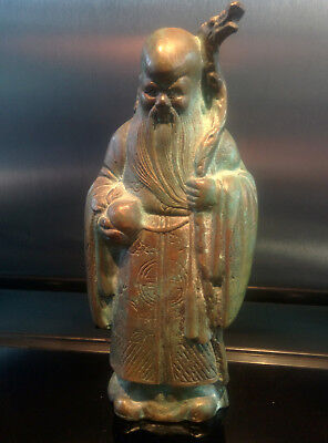 22cm Old Chinese bronze figure of Shou Lau Daoist God of Longevity circa 19th C